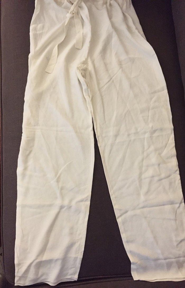 Ολομέταξη παντελόνα  από « Λουκία» , λευκό - ιβουαρ