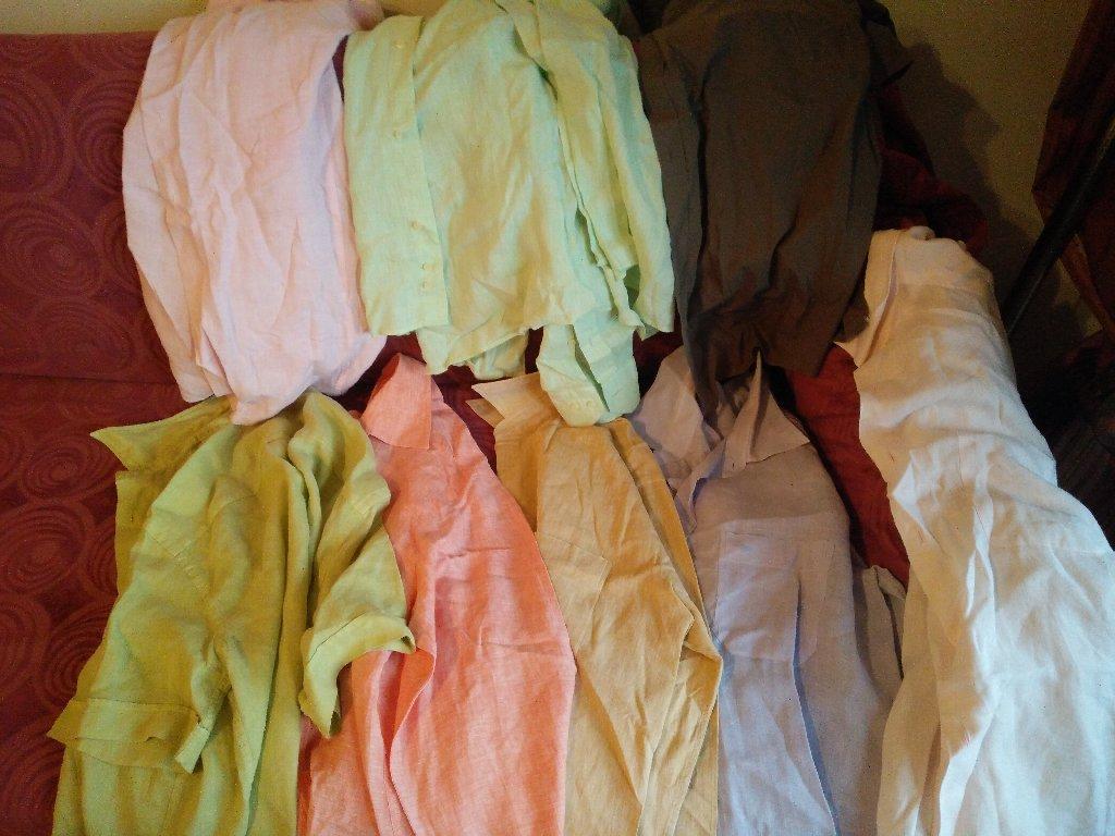 8 πουκάμισα καλοκαιρινά, διάφορα, σχεδόν αφόρετα, LARGE