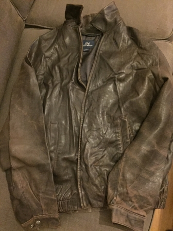 Brooks brothers 346 dark brown men's leather jacket