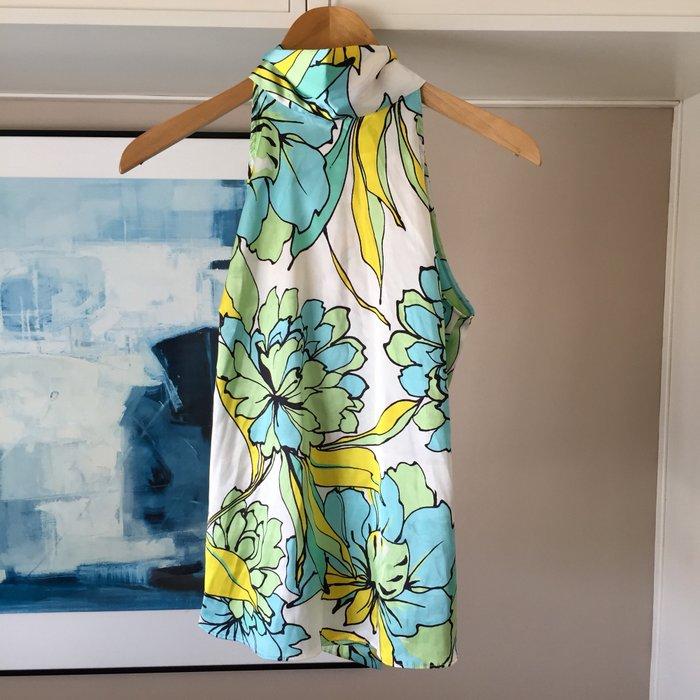 Zara σατέν αμάνικη floral πουκαμίσα με ψηλή. Photo 8