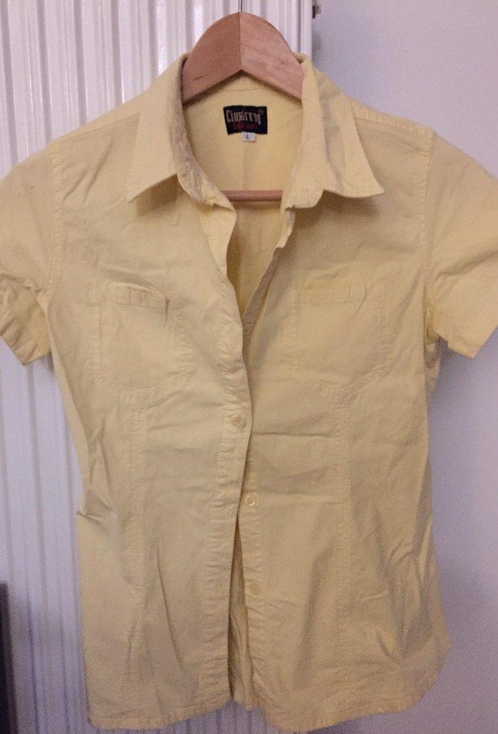 Πουκάμισο γυναικείο , κίτρινο από ελαστκό ύφασμα . Νο Small. Τιμή 10€ . Photo 0