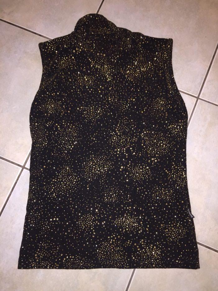 Μαυρη ελαστικη αμανικη μπλούζα με χρυσο glitter . Καινούργια Νο Small . Photo 3