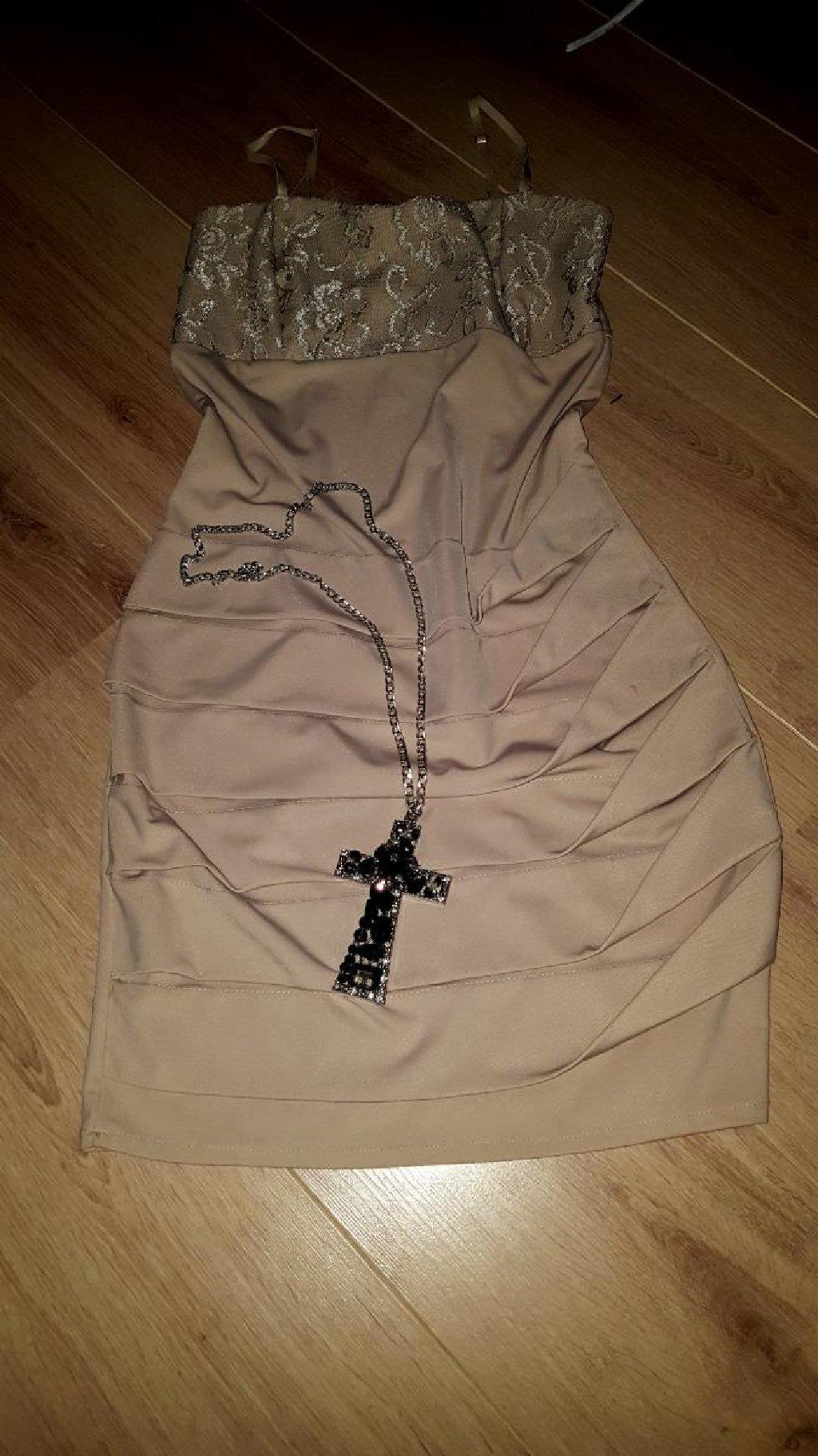 Prelepa svecana haljinica samo probana i poklon lancic krst nov