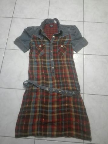Φορεμα λινο με τζιν, καρο, ολοκαινουργιο. Photo 0