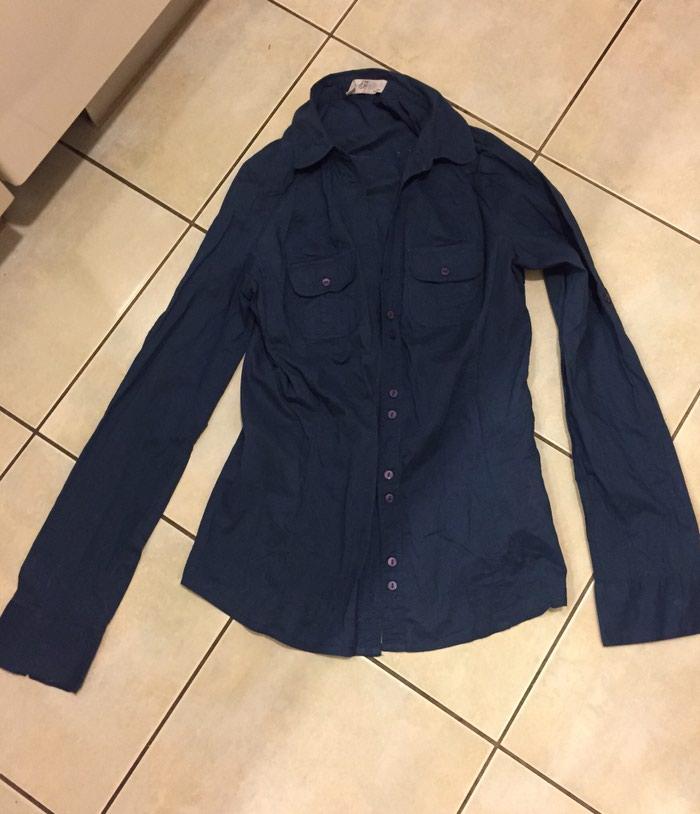 Γυναικείος ρουχισμός - Υπόλοιπο Αττικής: Μπλέ σκούρο βαμβακερό πουκάμισο μεσάτο . Νο small . Αφόρετο