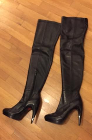 Zara high knee length high heels black leather boots