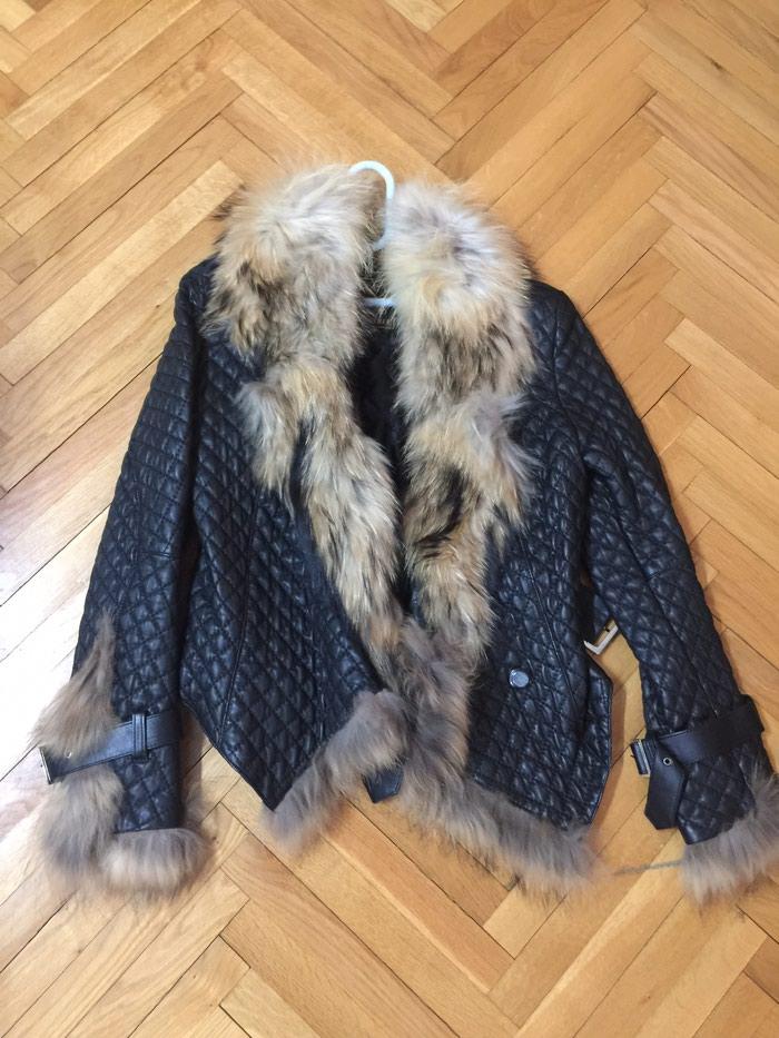 Kozna jakna,sa krznom,nova,ni jednom nosena,strukirana,M velicina - Novi Sad