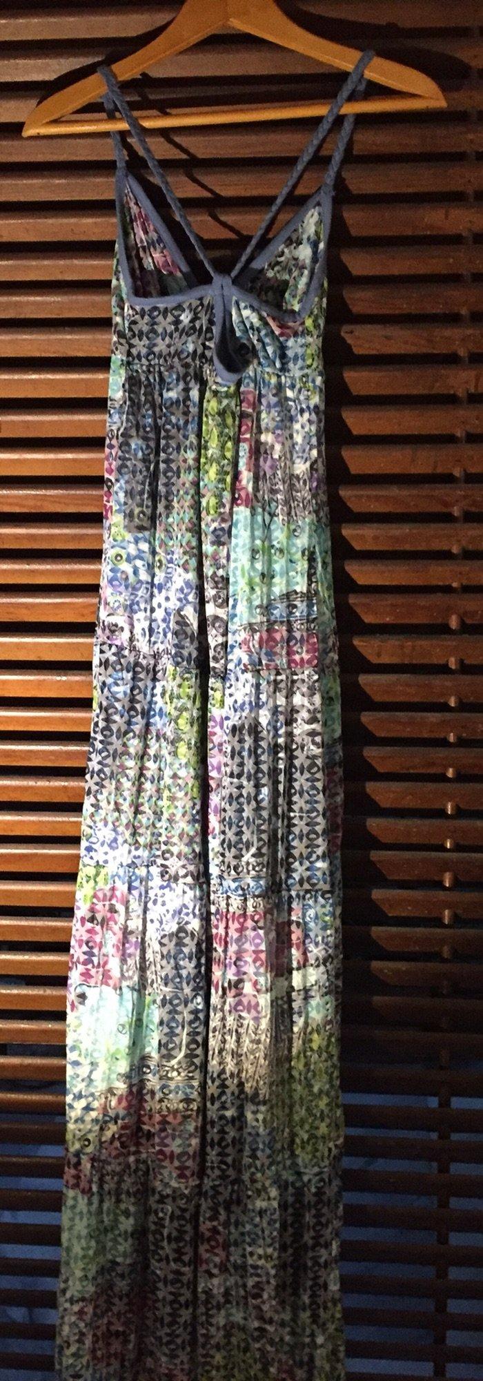Βαμβακερό εμπριμέ boho φόρεμα με τιράντες και ανοιχτή πλάτη . Αφόρετο . Photo 4
