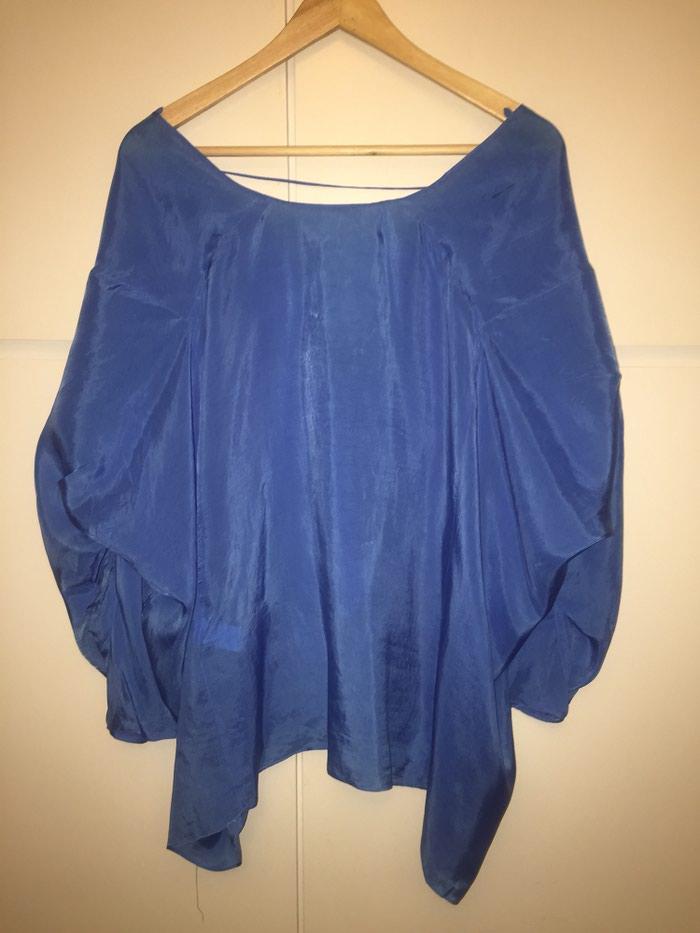 Zara woman μεταξωτή , φαρδιά , μπλε ρουά μπλούζα . Νο small . Αφόρετη . Photo 1