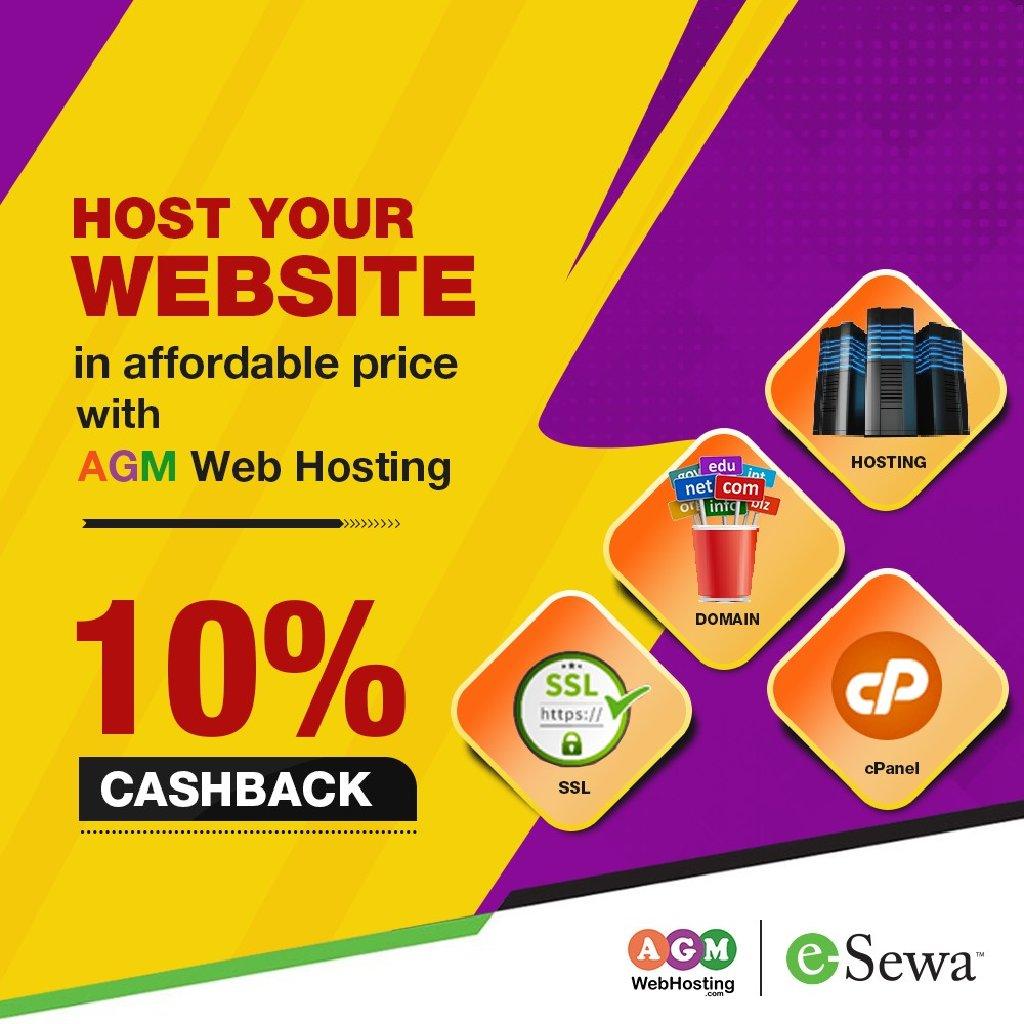 Assured 10% Instant eSewa Cashback Offer on Domain and Web Hosting: