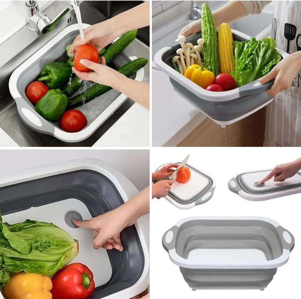 Posuda za pranje namirnica i daska za secenje 2u1