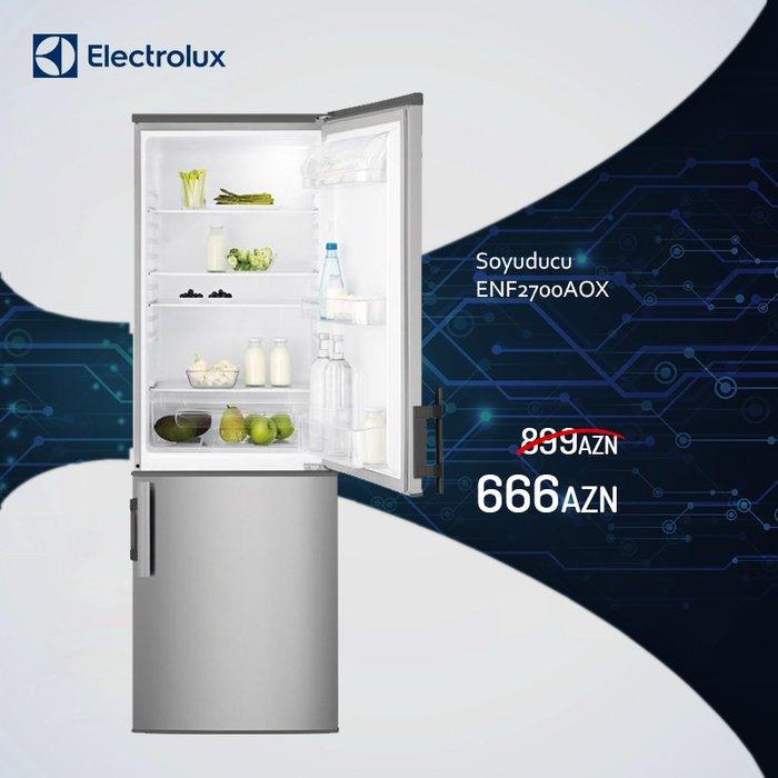 Bakı şəhərində Isvec brendi electrolux magazasinda soyuducu enf2700aox(boz rəng)