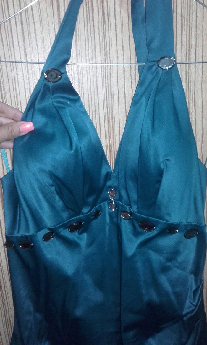 Φόρεμα πετρολ χρώμα,ballon με δέσιμο στο λαιμό.Τιμή συζητήσιμη . Photo 2