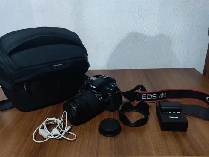 Canon 70D + memory card+ 18-135 mm + bag+11365 probeq. real qiymetdir. Photo 1